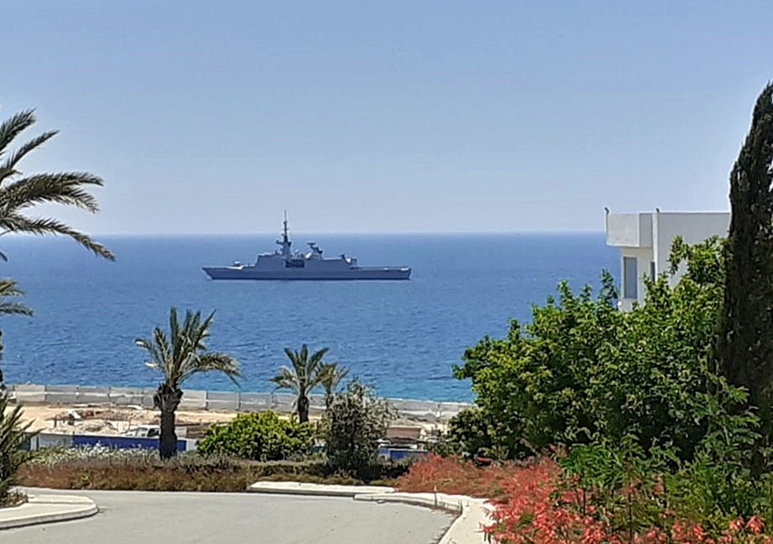 French military frigate off the coast of Paphos