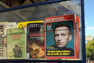 Showcase with the magazine Der Spiegel with Alexei Navalny on the front-page